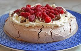 double chocolate pavlova with marscapone whipped cream u0026 raspberries