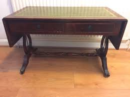 leather top side table vintage antique mahogany console hall side table claw feet drop leaf