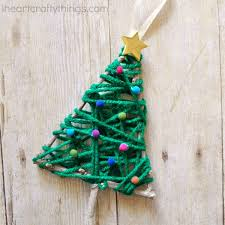 yarn wrapped christmas tree twig ornament i heart crafty things