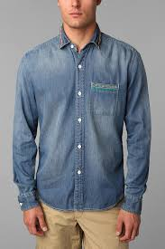urban outfitters koto sashiko denim shirt in blue for men lyst