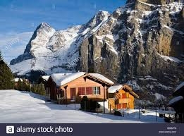 switzerland bernese oberland murren snow covered chalet houses