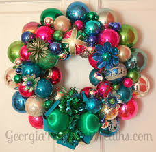 how to make a christmas wreath out of vintage ornaments georgia