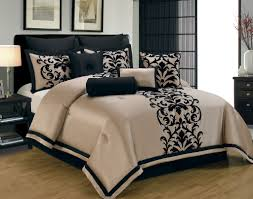 contemporary bedroom design with 9pc taupe black queen size