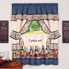 Wine Bottle Kitchen Curtains Hanging Cottage Curtain Decor With Colorful Border Of Wine Bottles