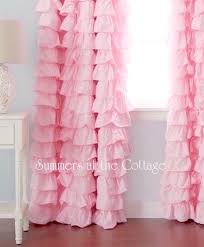 Ruffled Curtains Pink Chic Ruffles Drape Set Baby Pink Ruffled Curtain Drapes