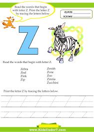 kids under 7 alphabet worksheets trace and print letter z