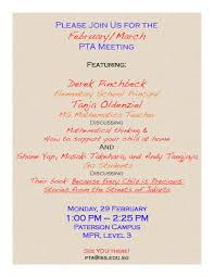 pta meeting invitation weekly news 2015 16