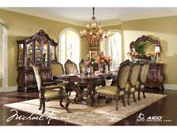 michael amini chateau beauvais china cabinet glass hutch shown with china cabinet base buffet 9 piece dining room set and sideboard mirror