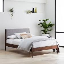 Modern Wooden Bed Frames Modern Show Wood Bed Pumice Yarn Dyed Linen Weave West Elm
