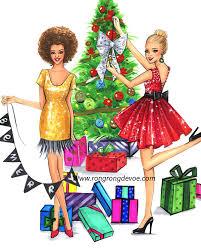 christmas tree decorating at christmas eve fashion illustration