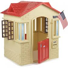 outdoor wooden playhouse costco little tikes cape cottage tan