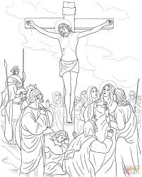 twelfth station jesus dies on the cross coloring page free