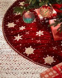 sudha pennathur embroidered snowflakes velvet tree skirt