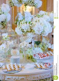 Wedding Dessert Table Wedding Dessert Table With Cakes And White Flowers Stock Photo