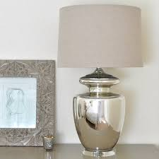 large silver urn table lamp and linen shade by primrose u0026 plum