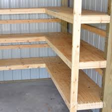 Wood Shelf Building Plans by Diy Corner Shelves For Garage Or Pole Barn Storage Diy Corner