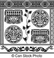 clipart vector of set of ancient american ornaments vector of