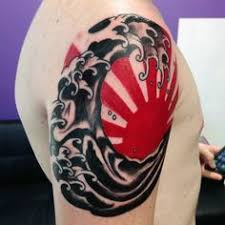 japanese rising sun japanese sun and wave ink