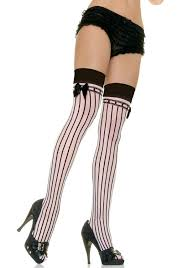 leg avenue 9222 sheer stockings with opaque stripes and satin bow