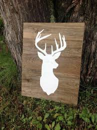 large deer silhouette wood sign buck mount wall