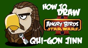 how to draw qui gon jinn angry birds star wars 2 youtube