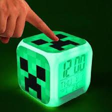 night light alarm clock minecraft creeper light up led alarm clock nightlight thermometer