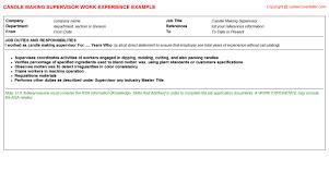 Plant Supervisor Resume Candle Making Supervisor Cv Work Experience