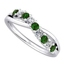 white gold engagement rings uk 9ct white gold emerald and diamond cross eternity ring 9052