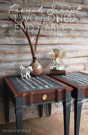 refinishing end table ideas french script two toned end tables french script tables and paint