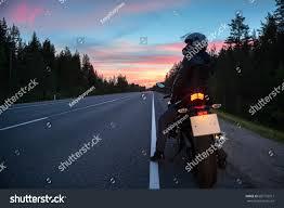 Evening Times News Desk Motortraveler Own Bike Resting On Roadside Stock Photo 682772917