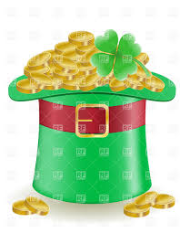 leprechaun u0027s top hat with full of golden coins st patrick s day