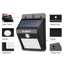 8 led solar power motion sensor garden security lamp outdoor