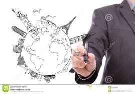Drawing travel around the world stock photography image 34705852