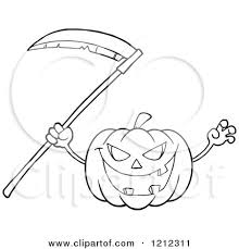 scary halloween clipart black and cartoon of an outlined scary halloween pumpkin with a scythe