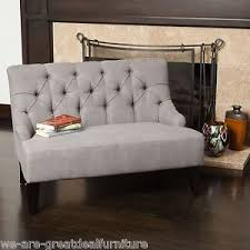 Grey Button Sofa Grey Button Tufted Fabric Settee Loveseat Ebay