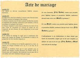 acte mariage acte de mariage mariage de l ami fritz