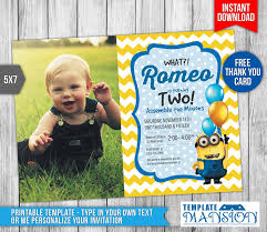 template simple personalized minion birthday invitations free