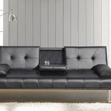 Black Sofa Bed Faux Leather Sofa Bed With Cup Holder Available In Black Or Brown