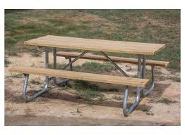 commercial wooden 12 foot picnic table with welded frame portable