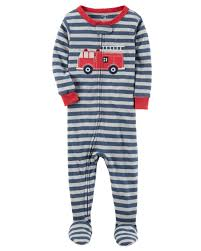 glow in the dark halloween pajamas 1 piece firetruck snug fit cotton pjs carters com