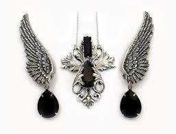 black swarovski crystals necklace images Jewelry set of black swarovski crystal necklace and wing earrings jpg