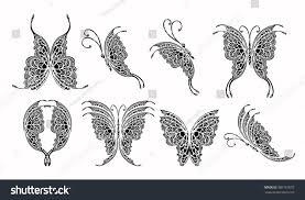 set butterfly tattoo design stock vector 386157652 shutterstock