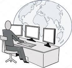 arriere plan bureau animé dessin animé de dirigeant d entreprise au bureau avec des moniteurs