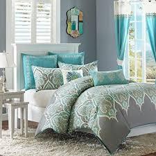 themed duvet cover 5pc blue grey white damask theme duvet cover king cal set