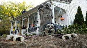 Decorated Homes For Halloween Make Flying Ghosts For Outdoor Halloween Displays