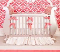 silk ivory u0026 coral crib bedding set little crown interiors