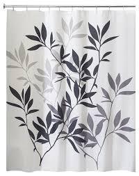 Black Curtain Interdesign Leaves Shower Curtain Black Gray Contemporary