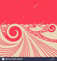 japanese style ocean red evening a stylized ocean waves