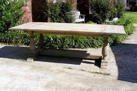 handcrafted weathered gray large trestle dining table