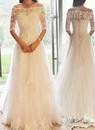 vintage lace top wedding dresses modest illusion lace top sleeved a line wedding dress
